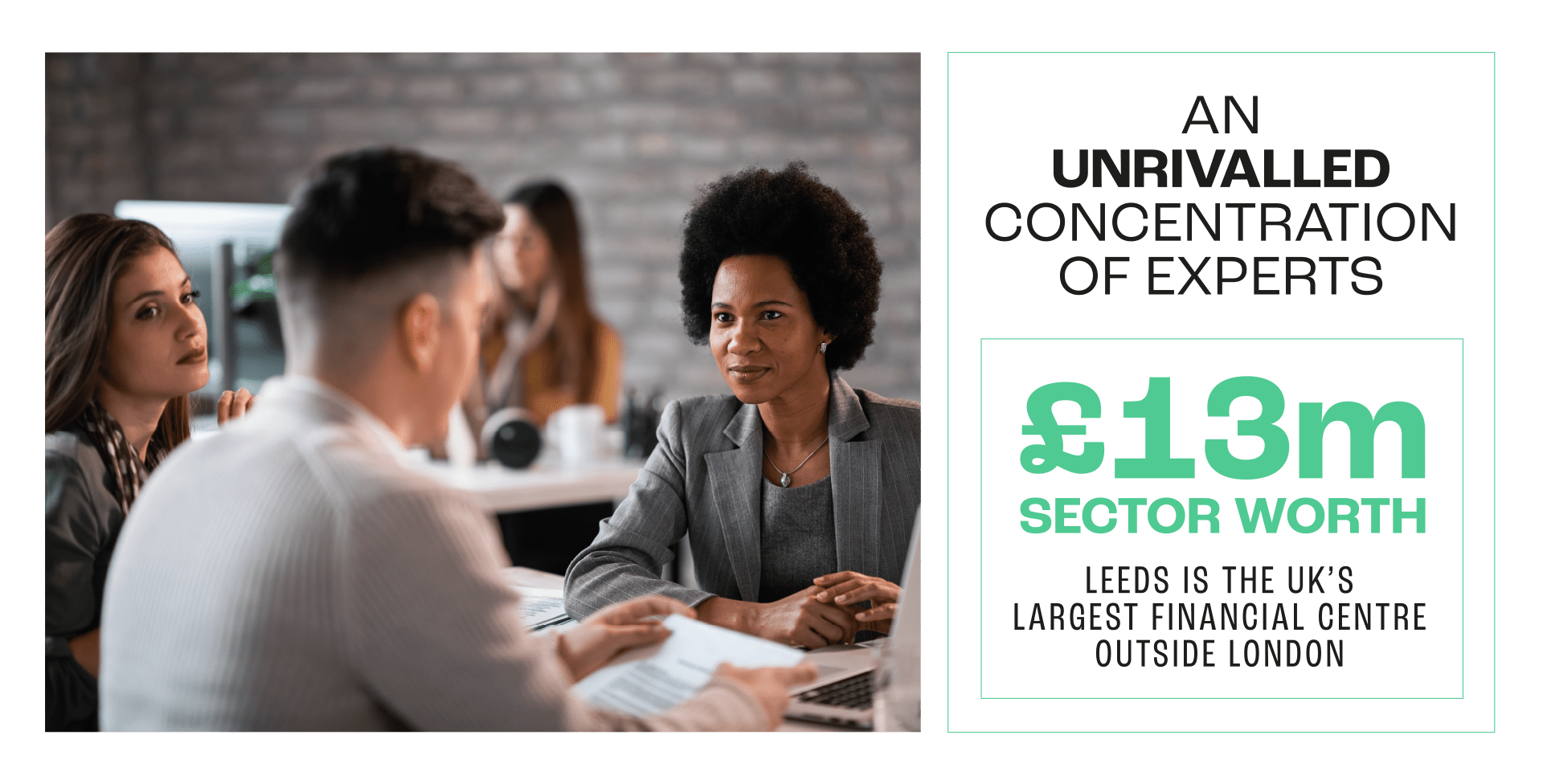 3 people having a meeting looking at a laptop with Leeds finance facts in black and green font.